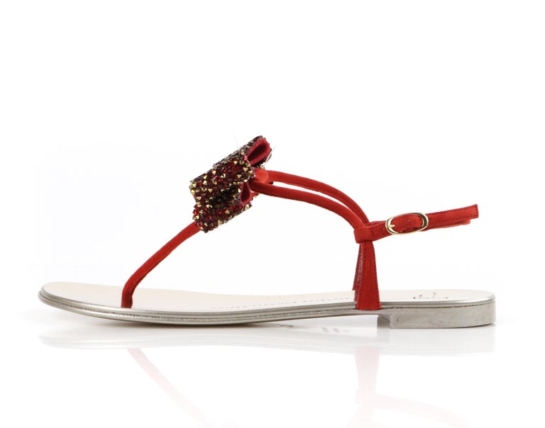 GIUSEPPE ZANOTTI Metallic Leather Suede Jeweled Bow Strap Back Thong Sandals For Sale 1