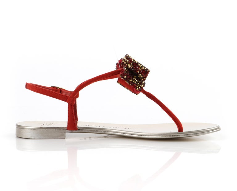GIUSEPPE ZANOTTI Metallic Leather Suede Jeweled Bow Strap Back Thong Sandals For Sale 2