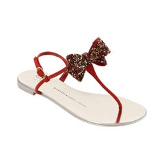 GIUSEPPE ZANOTTI Metallic Leather Suede Jeweled Bow Strap Back Thong Sandals