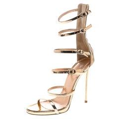 fa3f9c352f75 Giuseppe Zanotti Metallic Rose Gold Leather Gladiator Sandals Size 37