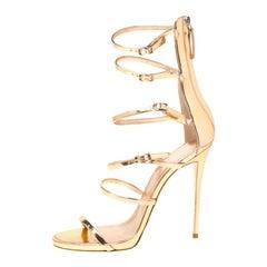 Giuseppe Zanotti Metallic Rose Gold Leather Open Toe Gladiator Sandals Size 39.5