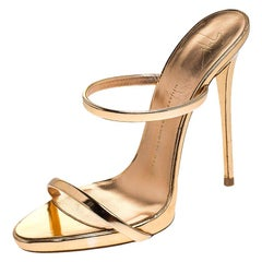 Giuseppe Zanotti Metallic Rose Gold Leather Open Toe Slides Size 38