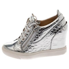 Giuseppe Zanotti Metallic Silver Croc Embossed Zip Wedge Sneakers Size 37