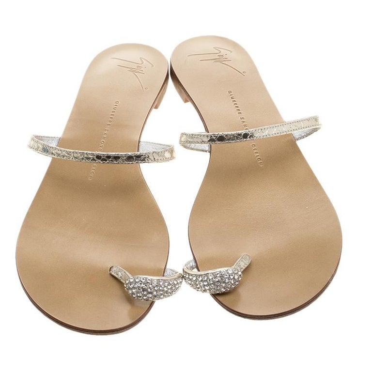 267d89f6d7950 Beige Giuseppe Zanotti Metallic Silver Crystal Embellished Toe Ring Flat  Sandals Size For Sale