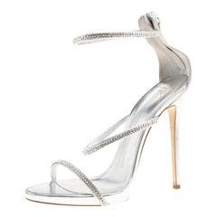 Giuseppe Zanotti Metallic Silver Leather Crystal Embellished Ankle Strap Size 41