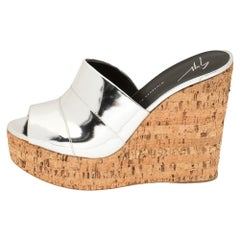 Giuseppe Zanotti Metallic Silver Leather Wedge Platform Slide Sandals Size 40