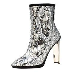 Giuseppe Zanotti Metallic Silver Sequin Stretch Ankle Boots Size 37