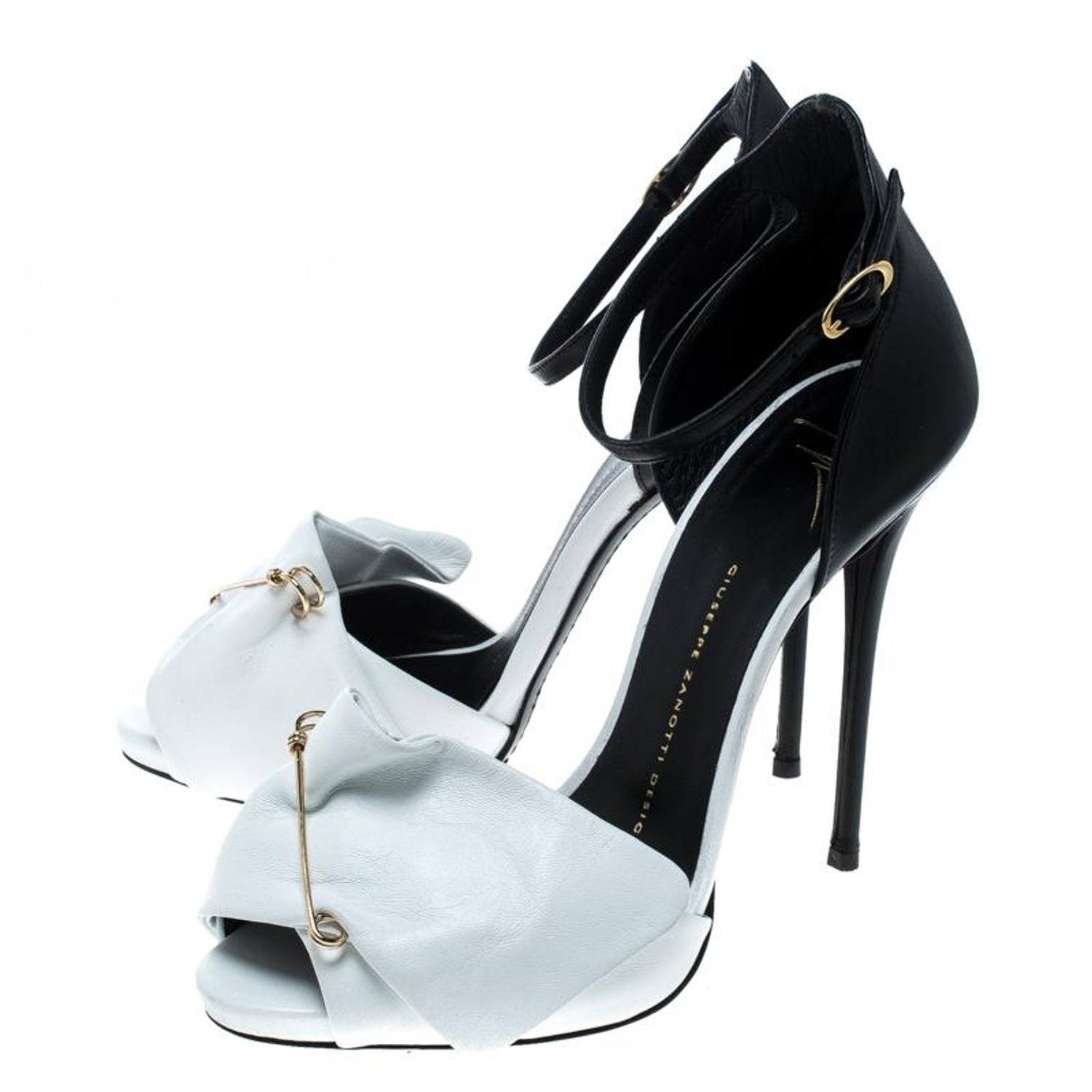 1d5bef70d Giuseppe Zanotti Monochrome Leather Safety Pin Ankle Strap Sandals Size  38.5 For Sale at 1stdibs
