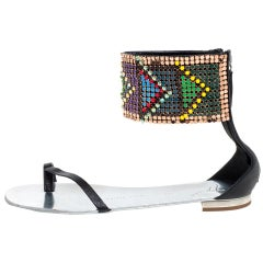 Giuseppe Zanotti Multicolor Beads and Leather Ankle Wrap Flat Sandals Size 39