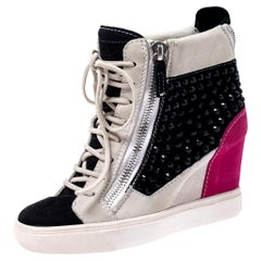 Giuseppe Zanotti Multicolor Crystal Embellished Suede Wedge Sneakers Size 36