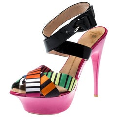 Giuseppe Zanotti Multicolor Satin And Patent Leather Cross Strap Sandals Size 39