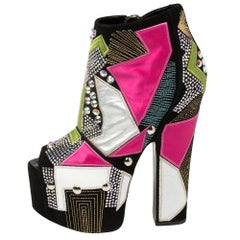 Giuseppe Zanotti Multicolor Suede And Leather Platform Ankle Booties Size 39