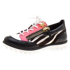 Giuseppe Zanotti Multicolor Zebra Print Leather Lace Up Sneakers Size 37