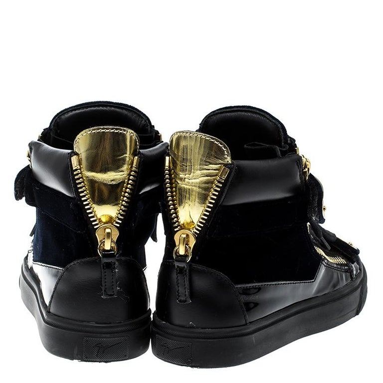 9c2f74e77ac66 Giuseppe Zanotti Navy Blue/Black Velvet and Leather Coby High Top Sneakers  In Good Condition