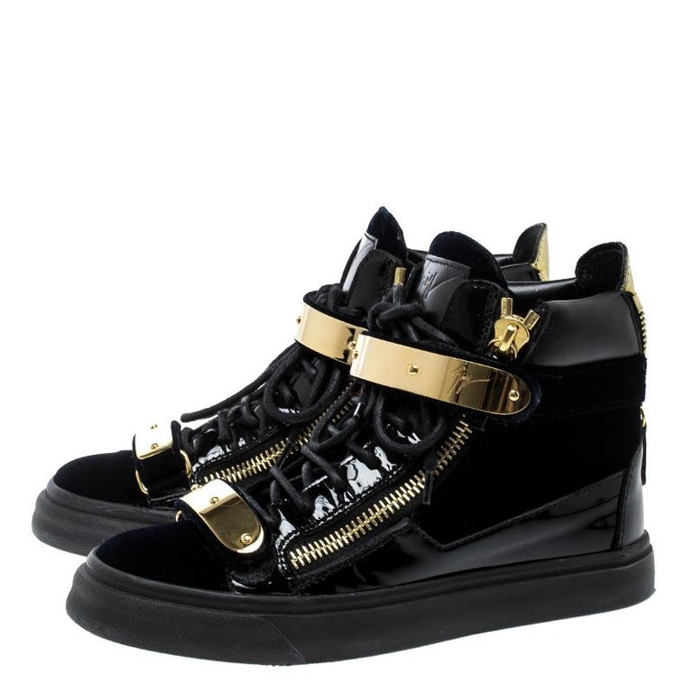 b48ebc0025ab1 Giuseppe Zanotti Navy Blue/Black Velvet and Leather Coby High Top Sneakers  For Sale 2