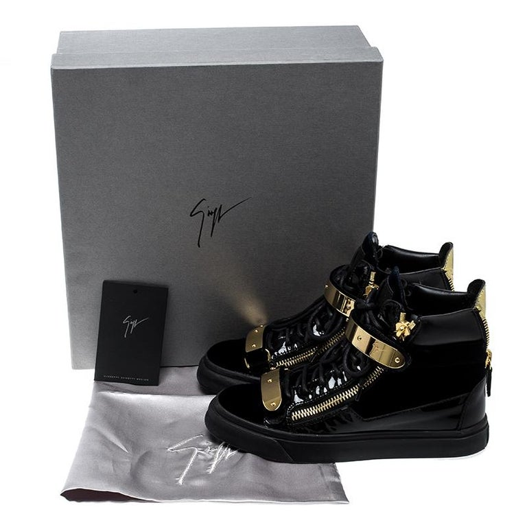 d3c29751c010a Giuseppe Zanotti Navy Blue/Black Velvet and Leather Coby High Top Sneakers  For Sale 4