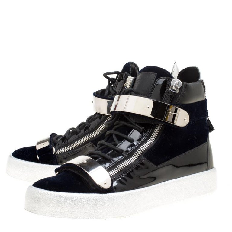 5cf951c2f2eb1 Giuseppe Zanotti Navy Blue Velvet Black Leather Coby High Top Sneakers Size  43 In New Condition