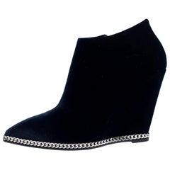Giuseppe Zanotti Navy Blue Velvet Chain Embellished Wedge Ankle Boots Size 37
