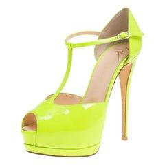 Giuseppe Zanotti Neon Green Patent Leather Platform Peep Toe Sandals Size 38