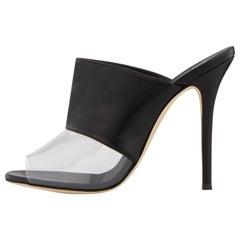 Giuseppe Zanotti NEW Black Leather Clear PVC Slides Mules Evening Heels in Box