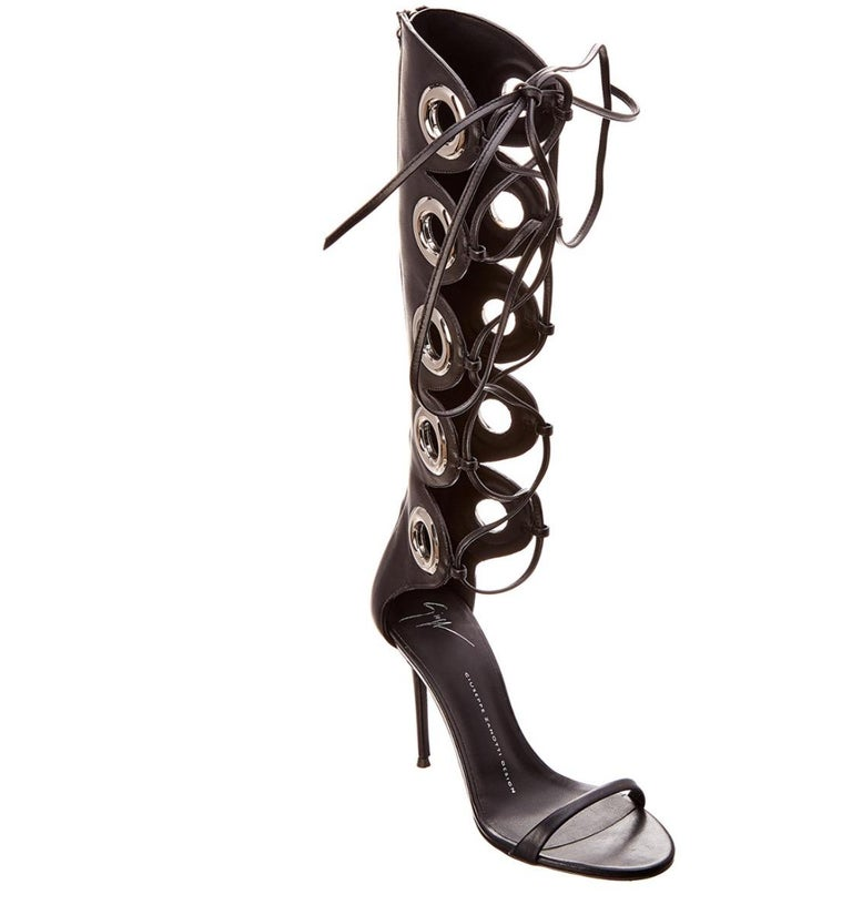 Giuseppe Zanotti NEW Black Leather Silver Grommet Lace Up Sandals Heels in Box   Size IT 36 Leather Silver tone hardware Lace up closure Made in Italy Heel height 4.5