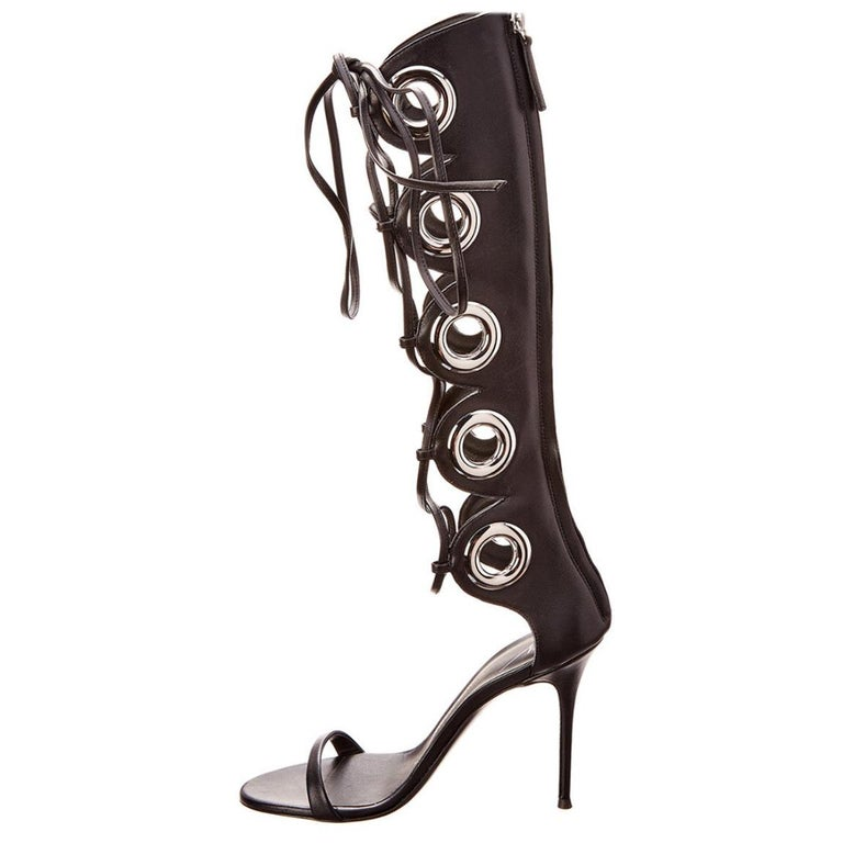 Giuseppe Zanotti NEW Black Leather Silver Grommet Lace Up Sandals Heels in Box  For Sale