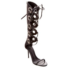 Giuseppe Zanotti NEW Black Leather Silver Grommet Lace Up Sandals Heels in Box