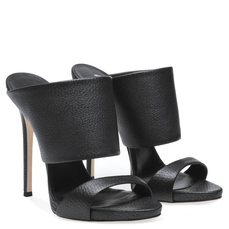 Giuseppe Zanotti New Black Leather Slide In Mules Evening Heels in Box  Size IT 36 Satin Slide in  Made in Italy Heel height 4.75