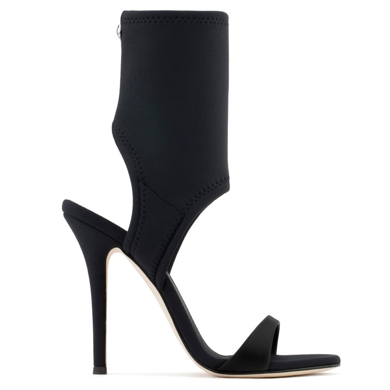 Giuseppe Zanotti NEW Black Neoprene Sock Evening Boots Booties Heels in Box In New Condition For Sale In Chicago, IL