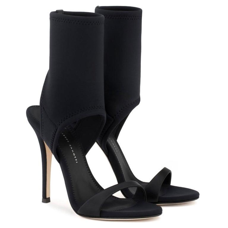 Women's Giuseppe Zanotti NEW Black Neoprene Sock Evening Boots Booties Heels in Box For Sale