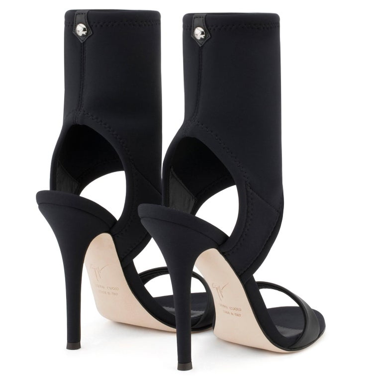 Giuseppe Zanotti NEW Black Neoprene Sock Evening Boots Booties Heels in Box For Sale 1