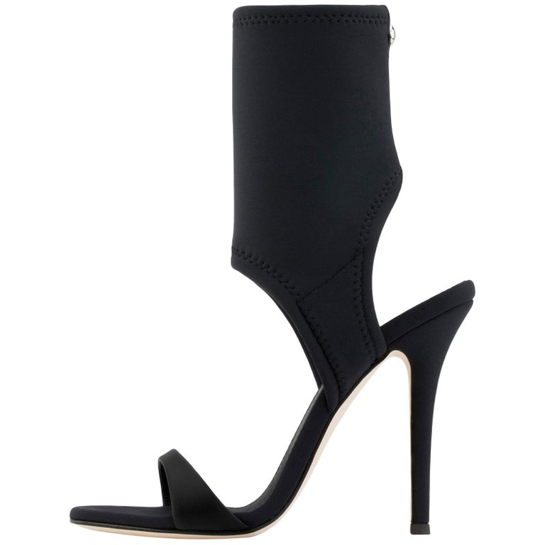 Giuseppe Zanotti NEW Black Neoprene Sock Evening Boots Booties Heels in Box For Sale