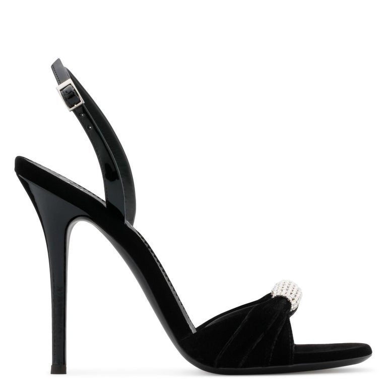 Giuseppe Zanotti NEW Black Patent Crystal Velvet Evening Sandals Heels in Box In New Condition For Sale In Chicago, IL