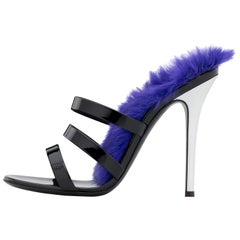 Giuseppe Zanotti NEW Black Patent Feather Evening Slides Sandals Heels in Box