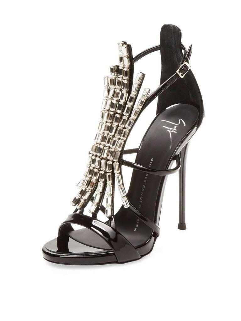 Women's Giuseppe Zanotti NEW Black Patent Jewel Crystal Evening Heels Sandals in Box For Sale