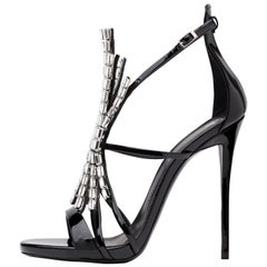 Giuseppe Zanotti NEW Black Patent Jewel Crystal Evening Heels Sandals in Box