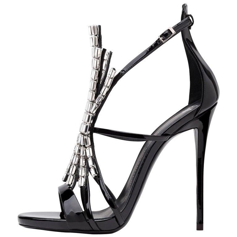 Giuseppe Zanotti NEW Black Patent Jewel Crystal Evening Heels Sandals in Box For Sale
