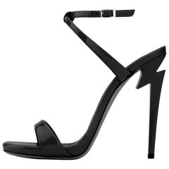 Giuseppe Zanotti NEW Black Patent Leather Evening Sandals Heels in Box