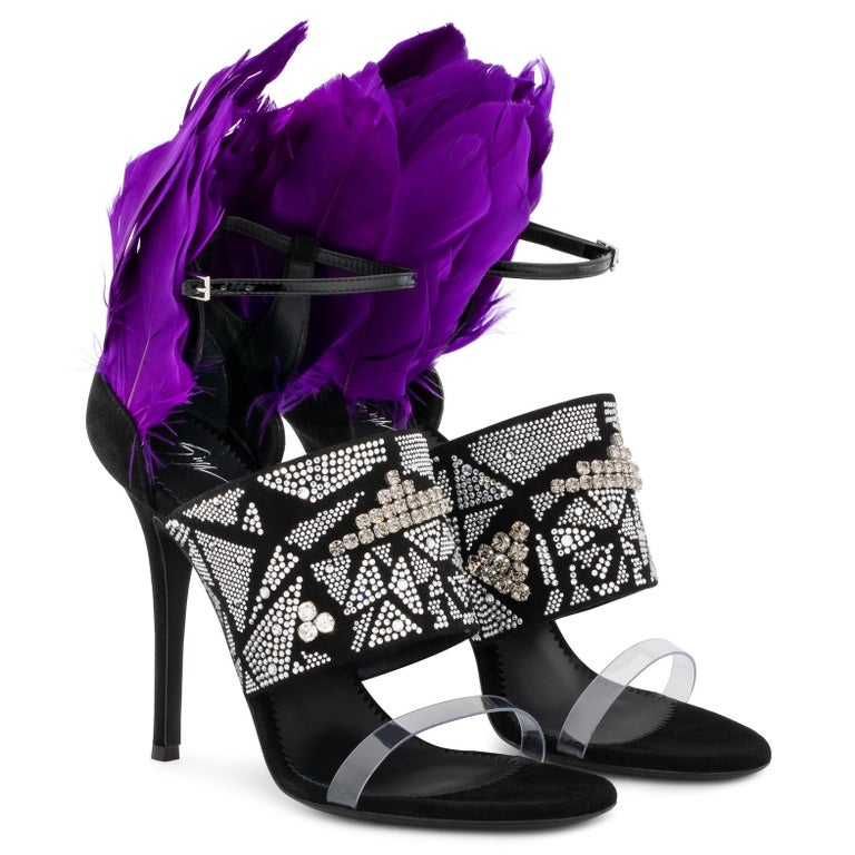 Purple Giuseppe Zanotti NEW Black Suede Crystal Feather Evening Sandals Heels in Box For Sale