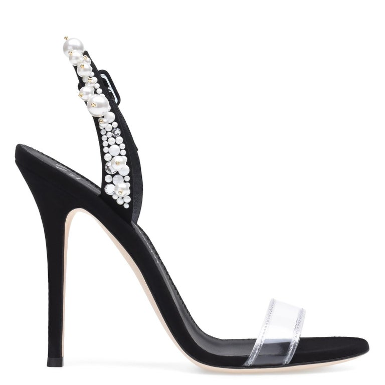 Giuseppe Zanotti NEW Black Suede PVC Pearl Crystal Evening Sandals Heels in Box In New Condition For Sale In Chicago, IL