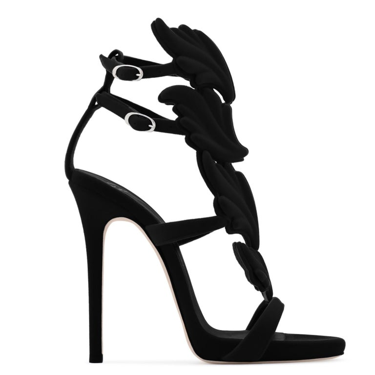 Giuseppe Zanotti NEW Black Suede Velvet Evening Sandals Heels in Box In New Condition For Sale In Chicago, IL