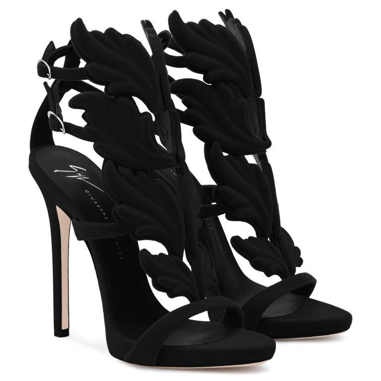 Women's Giuseppe Zanotti NEW Black Suede Velvet Evening Sandals Heels in Box For Sale