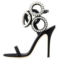 Giuseppe Zanotti NEW Black Swirl Crystal Evening Sandals Heels in Box