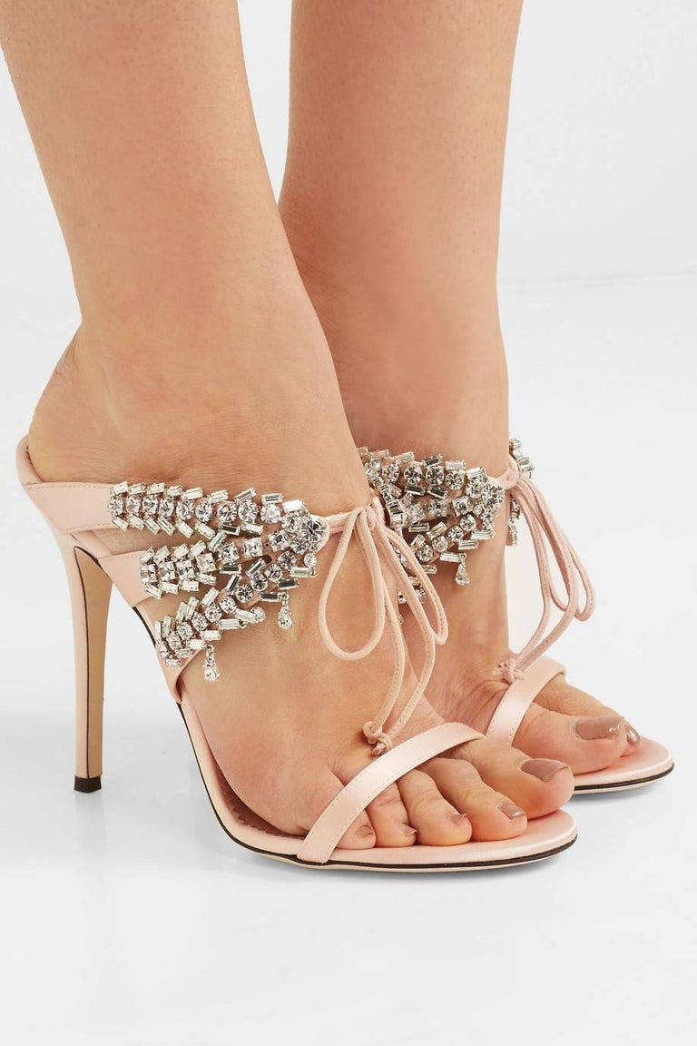 Giuseppe Zanotti NEW Blush Nude Crystal Slide in Mules Sandals Heels in Box  Size IT 37 Satin Crystal Slide on Tie closures Made in Italy Heel height 4.5