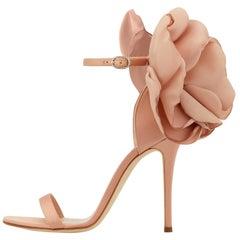 Giuseppe Zanotti NEW Blush Nude Satin Flower Evening Sandals Heels in Box