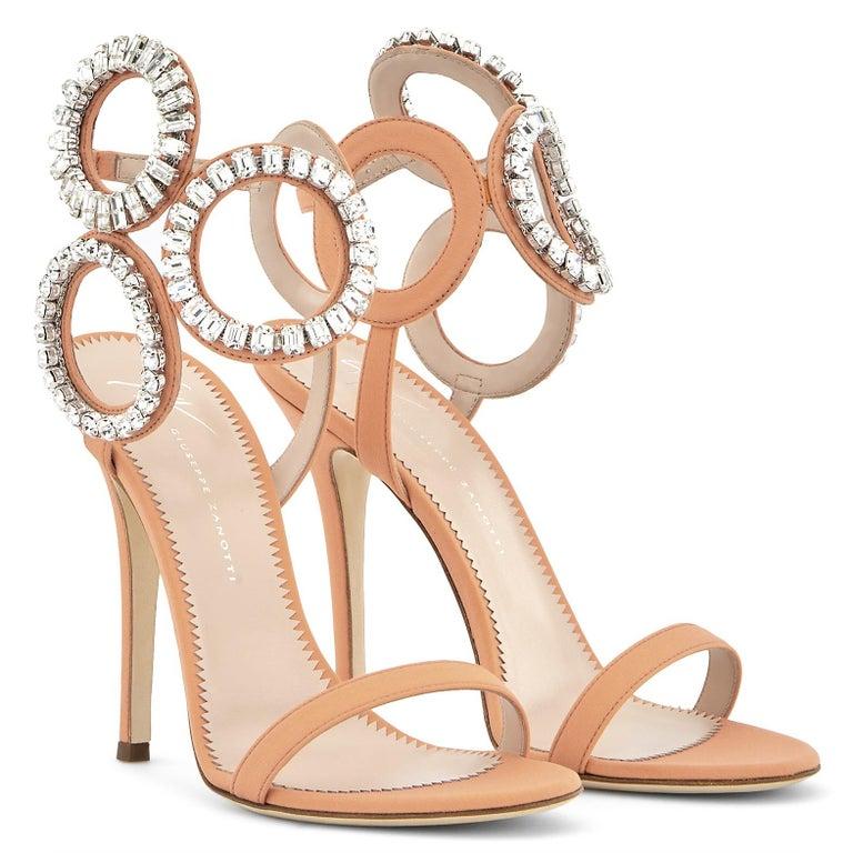 Beige Giuseppe Zanotti NEW Blush Nude Swirl Crystal Evening Sandals Heels in Box