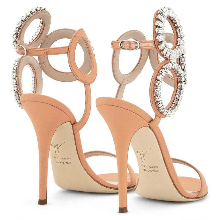 Giuseppe Zanotti NEW Blush Nude Swirl Crystal Evening Sandals Heels in Box In New Condition In Chicago, IL