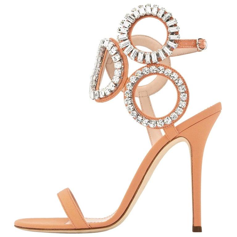 Giuseppe Zanotti NEW Blush Nude Swirl Crystal Evening Sandals Heels in Box
