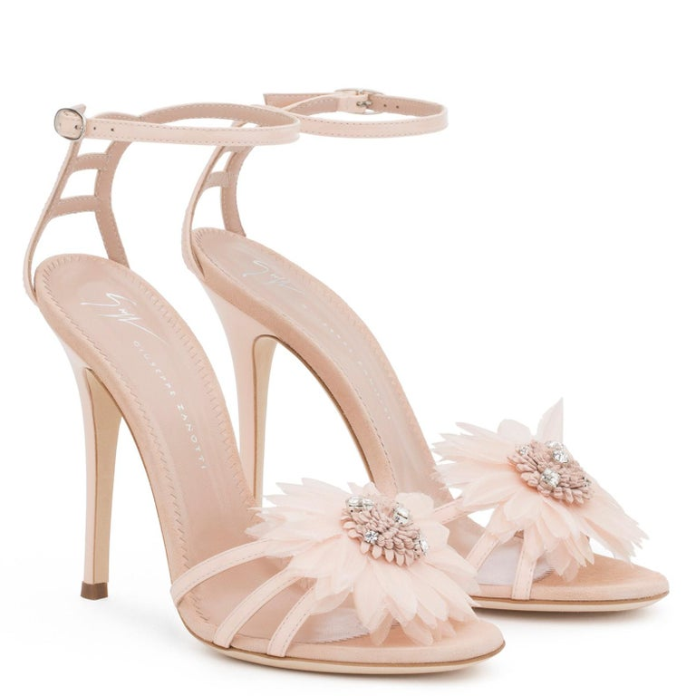 Beige Giuseppe Zanotti NEW Blush Patent Crystal Applique Evening Sandals Heels in Box For Sale