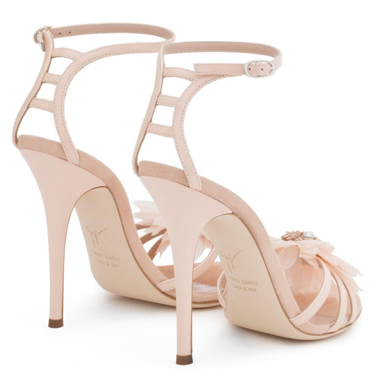 Giuseppe Zanotti NEW Blush Patent Crystal Applique Evening Sandals Heels in Box In New Condition For Sale In Chicago, IL